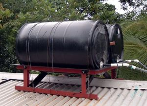 Solar Water Heater A roof-mounted solar hot water heater