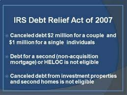 Extension of the Mortgage Debt Forgiveness Act But Not For California....Yet